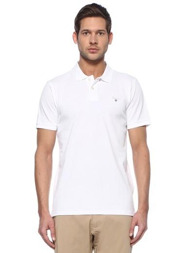 Gant Gant Regular Fit  Logo Nakışlı Polo Yaka T-shirt 101508630 Beyaz